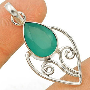 Jewelry - Aquamarine Chalcedony 925 Sterling Silver Pendant